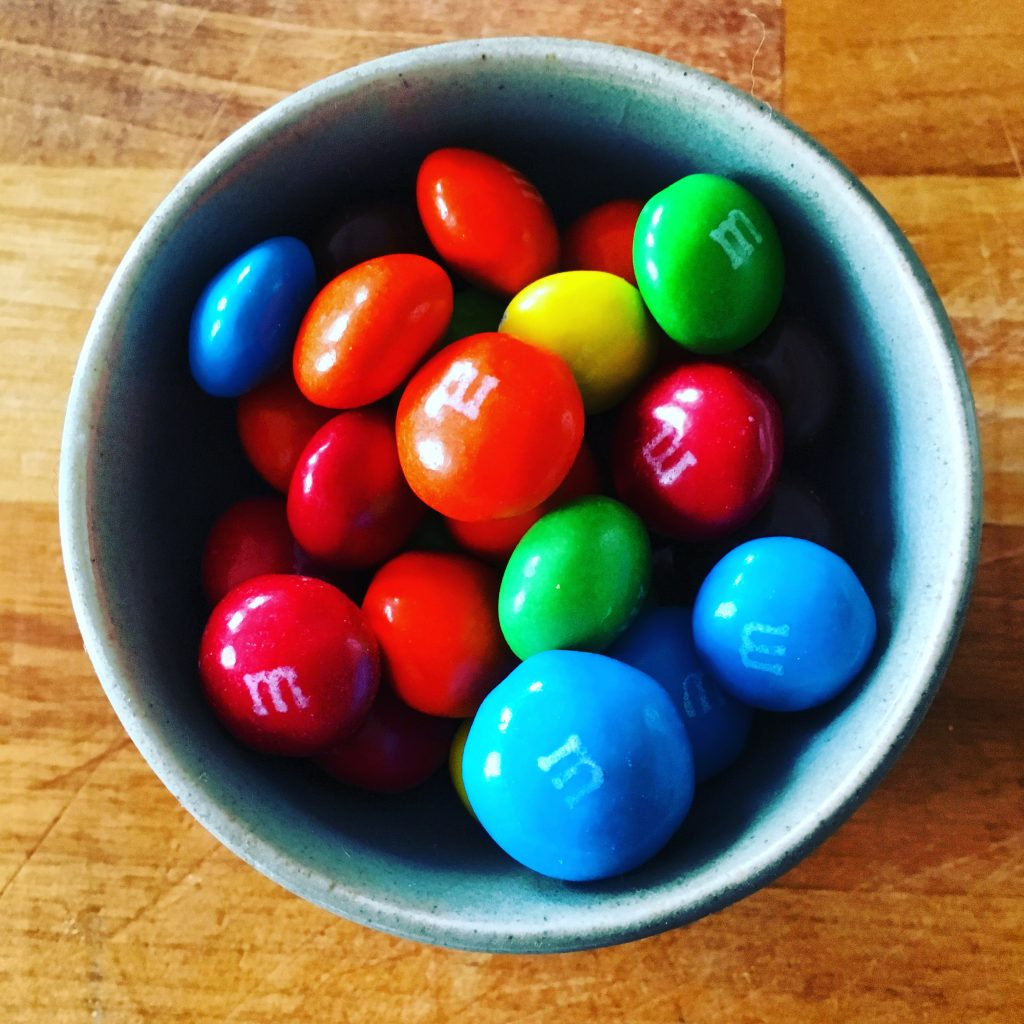 Peanut butter M&Ms to survive the change of grip