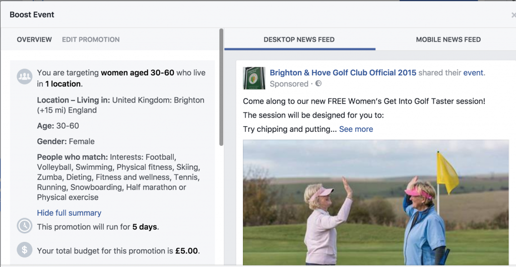 Get into golf taster session Facebook event to grow the women's section at Brighton & Hove golf club